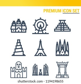 Simple set of  9 outline icons on following themes tokyo, teotihuacan, samarra, sagrada familia, london eye, angkor wat, giant swing web icons with high quality