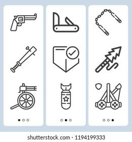 Simple set of  9 outline icons on following themes penknife, harpoon, nunchaku, catapult, shield, revolver, bomb, machine gun web icons with high quality