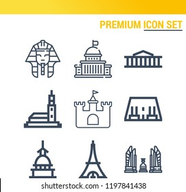 Simple set of  9 outline icons on following themes abu simbel, tokyo, mole antonelliana, hassan mosque, castle, capitol, pharaoh, british museum web icons with high quality