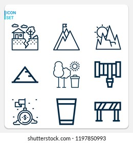 Simple set of  9 outline icons on following themes pyramid, mountain, tree, mission, earthquake, water glass, hosepipe web icons with high quality