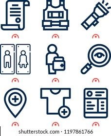 Simple set of  9 outline icons on following themes restroom, doctor, purchase, shirt, detective, flashlight, bullet proof vest, license web icons with high quality