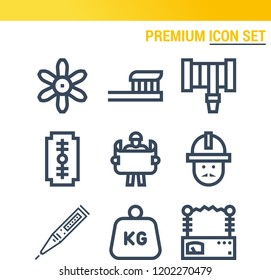 Simple set of  9 outline icons on following themes weight, filter, toothbrush, razor, hosepipe, thermometer, engineering, voltmeter web icons with high quality