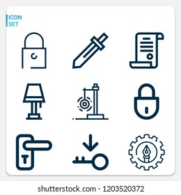 Simple set of  9 outline icons on following themes padlock, lamp, license, doorknob, key, pen, pendulum web icons with high quality