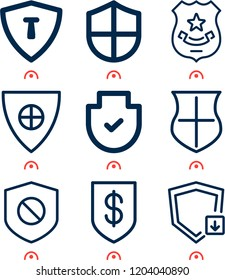 Simple set of  9 outline icons on following themes shield, shield with cross web icons with high quality
