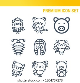 Simple set of  9 outline icons on following themes teddy, arthropod, salmon, pig web icons with high quality