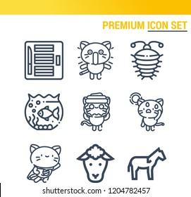 Simple set of  9 outline icons on following themes aquarium, arthropod, horse, sheep, plasticine web icons with high quality