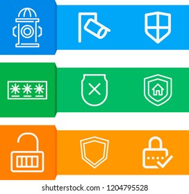 Simple set of  9 outline icons on following themes shield with cross, cctv, password, padlock, shield web icons with high quality