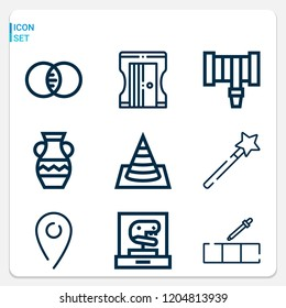 Simple set of  9 outline icons on following themes pick color, pin, mastercard, hosepipe, wand, cone, sharpener, vase web icons with high quality