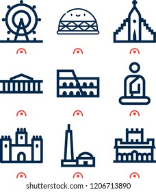 Simple set of  9 outline icons on following themes alhambra, qutb minar, colosseum, london eye, hallgrimskirkja, castle, dome, buddha web icons with high quality