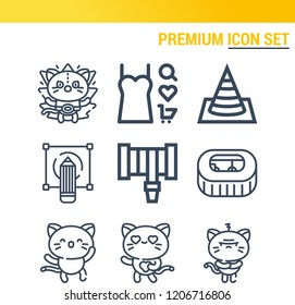 Simple set of  9 outline icons on following themes dress, hosepipe, stadium, sketching, cone web icons with high quality