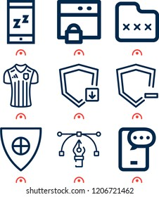 Simple set of  9 outline icons on following themes zzz, football shirt, shield, browser, shield with cross, folder,  web icons with high quality