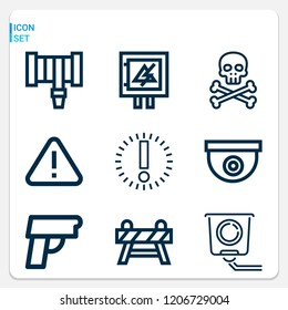 Simple set of  9 outline icons on following themes danger, alert, hosepipe, pistol, cctv, electricity, barrier web icons with high quality