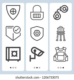 Simple set of  9 outline icons on following themes watertower, shield, bullet proof vest, handcuffs, shield, shield with cross, cctv, padlock web icons with high quality
