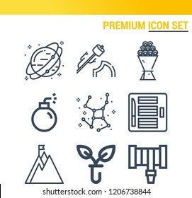 Simple set of  9 outline icons on following themes mountain, bouquet, marshmallow, biology, constellation, neptune, hosepipe, bomb web icons with high quality