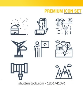 Simple set of  9 outline icons on following themes mountain, logs, earthquake, mission, beach, hosepipe, observatory, solar system web icons with high quality
