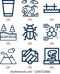Simple set of  9 outline icons on following themes mountain, forest, pier, beetle, molecular, waterfall, water glass, drawing web icons with high quality