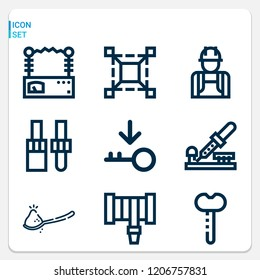 Simple set of  9 outline icons on following themes bottle opener, spoon, dropper, scale, hosepipe, key, engineer, voltmeter web icons with high quality