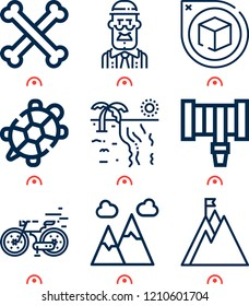 Simple set of  9 outline icons on following themes mountain, bones, turtle, beach, hosepipe, perspective, grandfather web icons with high quality