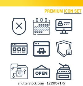 Simple set of  9 outline icons on following themes browser, profile, shield with cross, shield, folder, calendar, tank web icons with high quality