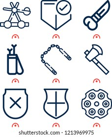 Simple set of  9 outline icons on following themes catapult, axe, knife, nunchaku, shield, arrow, revolver, shield with cross web icons with high quality