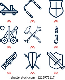 Simple set of  9 outline icons on following themes tools, knife, nunchaku, catapult, shield, long shield with two sword crossed web icons with high quality
