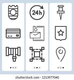 Simple set of  9 outline icons on following themes scale, pin, credit card, hours, hosepipe, shield with horizontal stripes and circle web icons with high quality