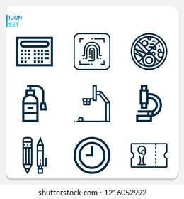 Simple set of  9 outline icons on following themes time, microscope, fire extinguisher, fingerprint scan, football ticket, petri dish, pencil web icons with high quality