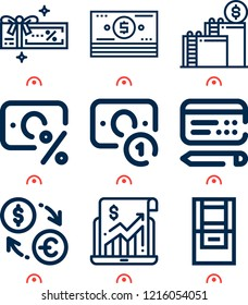 Simple set of  9 outline icons on following themes money, cheque, atm, stadistics, tax, ladder, coupon web icons with high quality