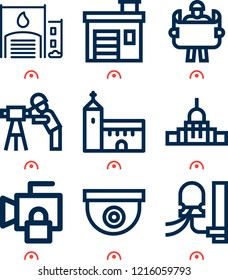 Simple set of  9 outline icons on following themes capitol, church, fire station, cctv, insulators, engineer web icons with high quality