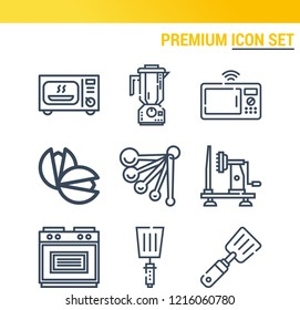 Simple set of  9 outline icons on following themes microwave oven, blender, slicer, microwave, oven, measuring spoons, pistachio web icons with high quality