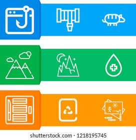Simple set of  9 outline icons on following themes mountain, water, armadillo, recycling, hosepipe, plasticine, fishing web icons with high quality