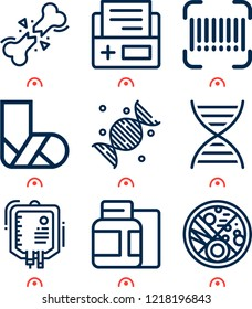 Simple set of  9 outline icons on following themes dna, bone, serum, medicine, medical history, barcode, broken leg web icons with high quality