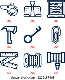 Simple set of  9 outline icons on following themes ruler, filament, axe, hosepipe, whistle, key, paper clip, abacus web icons with high quality