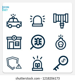 Simple set of  9 outline icons on following themes bomb, police car, siren, police station, hosepipe, flasher, key, shield web icons with high quality