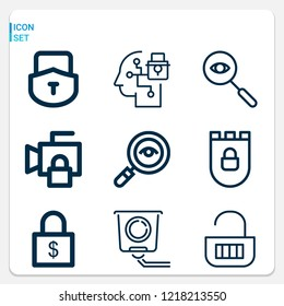 Simple set of  9 outline icons on following themes detective, cctv, security, spy, padlock web icons with high quality