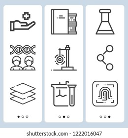 Simple set of  9 outline icons on following themes flask, cloning, flasks, connections, medical, fingerprint scan, layers, book web icons with high quality