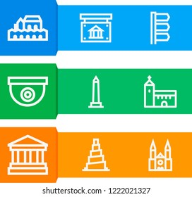Simple set of  9 outline icons on following themes cordoba, chartres cathedral, walled obelisk, samarra, church, bank, cctv, museum web icons with high quality