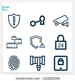 Simple set of  9 outline icons on following themes hosepipe, padlock, fingerprint, cctv, shield with exclamation mark, shield, key web icons with high quality