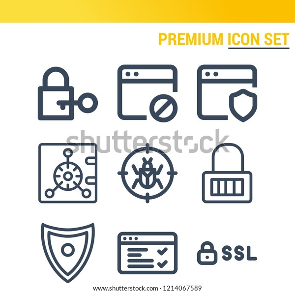 Simple Set 9 Outline Icons On Stock Vector (Royalty Free