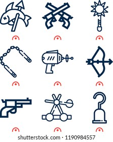 Simple set of  9 outline vector icons such as mace, catapult, bow, fishing, gun, pistol, nunchaku, hooks   web icons with high quality on following themes