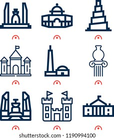 Simple set of  9 outline vector icons on following themes qutb minar, white house, samarra, castle, pottery, dome web icons with high quality