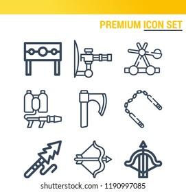 Simple set of  9 outline vector icons such as catapult, harpoon, nunchaku, crossbow, punishment, flame thrower, archery   web icons with high quality on following themes