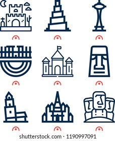 Simple set of  9 outline vector icons on following themes nevyansk, thatbyinnyu temple, samarra, merida, moai, castle web icons with high quality