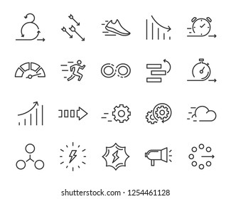 simple set of agile vector line icons, contain such lcon as speed, agile, boost, process, time and more