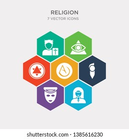 simple set of agnosticism, anglican, animism, asceticism icons, contains such as icons atheism, blasphemy, cao dai and more. 64x64 pixel perfect. infographics vector