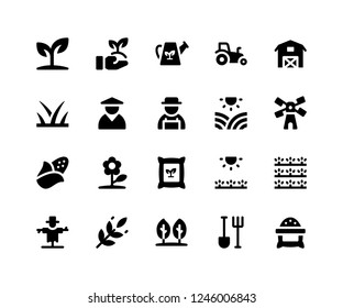 Simple Set of Agriculture Related Vector Glyph Icons. Contains such Icons as plant, farm, barn, sack, scarecrow and More. pixel perfect vector icons based on 32px grid. Well Organized