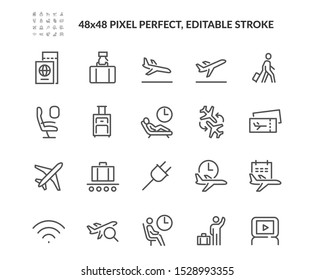 Simple Set of Airport Related Vector Line Icons. Contains such Icons as Departure, Tickets, Baggage Claim and more. Editable Stroke. 48x48 Pixel Perfect.