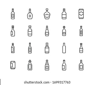 Simple set of alcohol icons in trendy line style. Modern vector symbols, isolated on a white background. Linear pictogram pack. Line icons collection for web apps and mobile concept.
