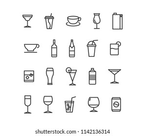 Simple Set of Alcohol Related Vector Line Icons. Contains such Icons as Champagne, Whiskey, Cocktail, Shots and more. Editable Stroke.