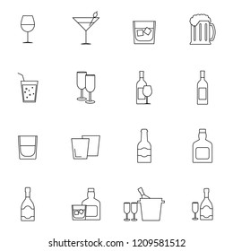 Simple Set of Alcohol Related Vector Line Icons. Contains such Icons as Champagne, Whiskey, Cocktail, Shots and more. Flat design